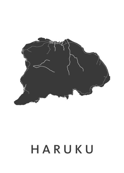 Haruku Eiland Kaart Poster Wit