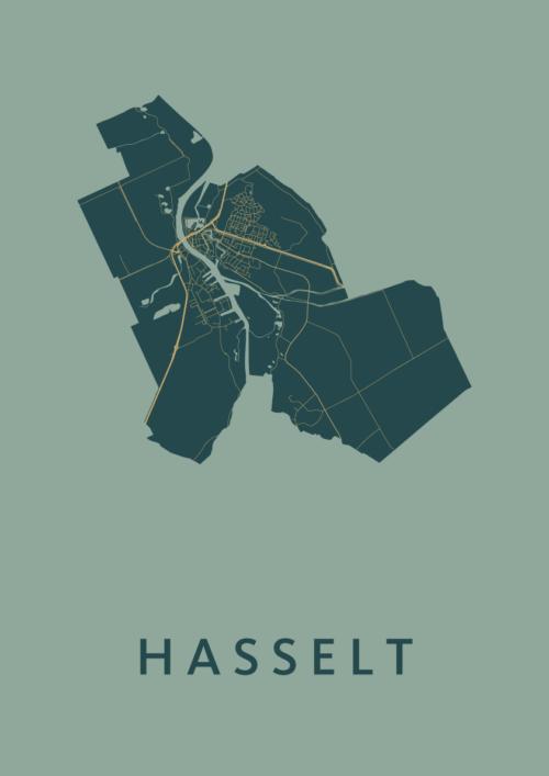 Hasselt Amazon Stadskaart Poster | Kunst in Kaart