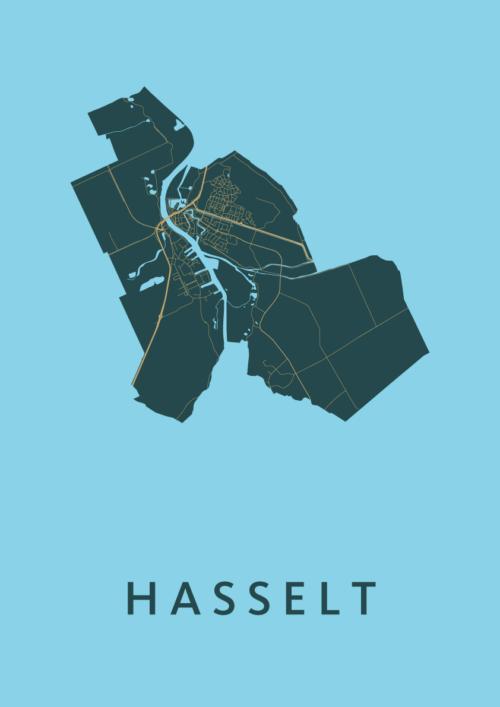 Hasselt Azure Stadskaart Poster | Kunst in Kaart