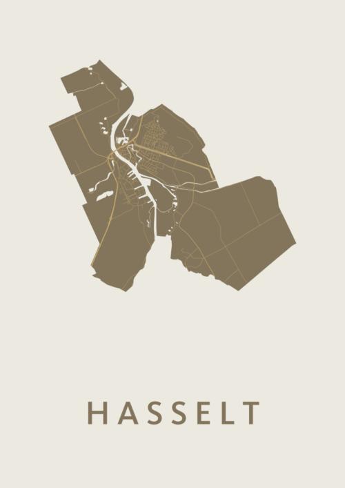 Hasselt Gold Stadskaart Poster   Kunst in Kaart