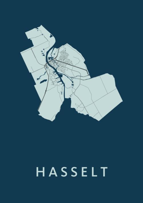 Hasselt Navy Stadskaart Poster   Kunst in Kaart