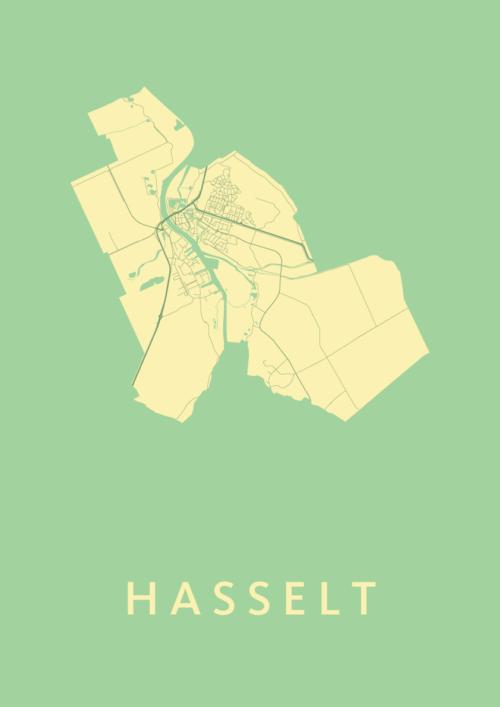 Hasselt Spring Stadskaart Poster   Kunst in Kaart