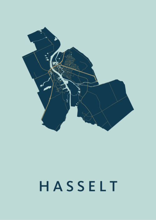 Hasselt Prussian Stadskaart Poster | Kunst in Kaart