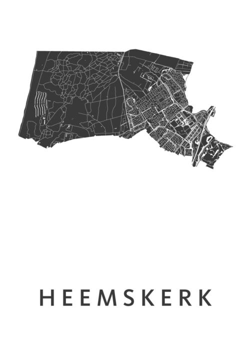 Heemskerk White Stadskaart Poster | Kunst in Kaart