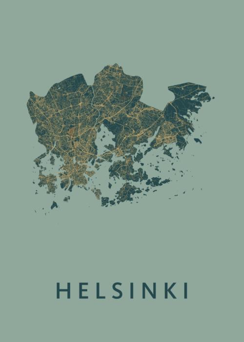 Helsinki Amazon Stadskaart Poster | Kunst in Kaart