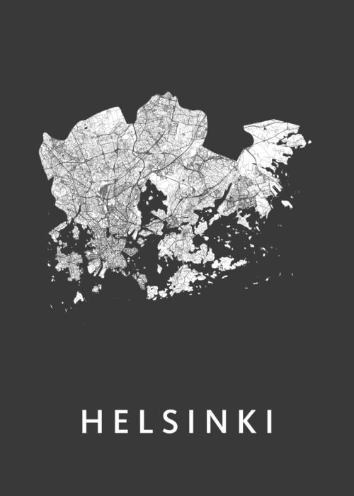 Helsinki Black Stadskaart Poster | Kunst in Kaart