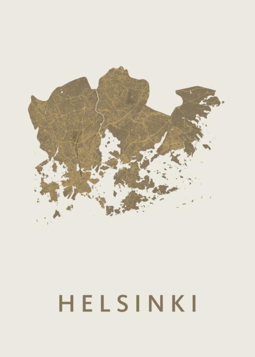 Helsinki Gold Stadskaart Poster | Kunst in Kaart