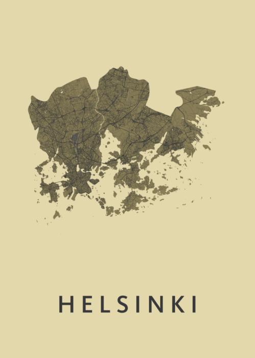 Helsinki GoldenRod Stadskaart Poster | Kunst in Kaart