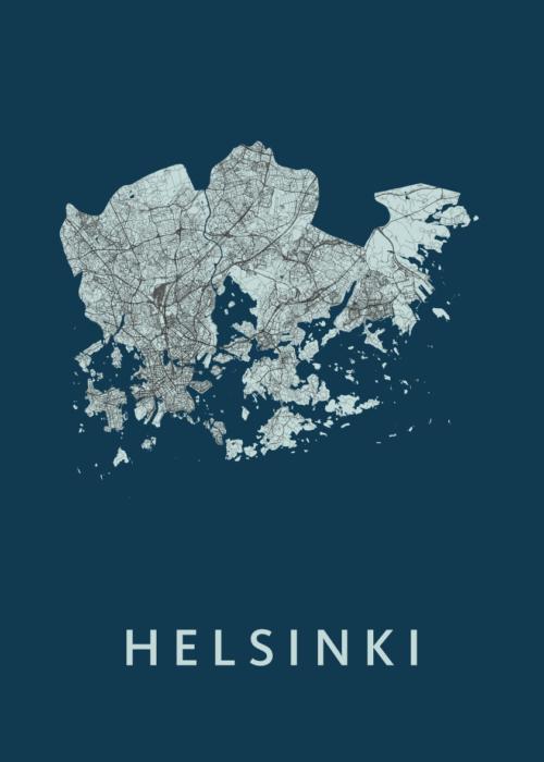 Helsinki Navy Stadskaart Poster | Kunst in Kaart