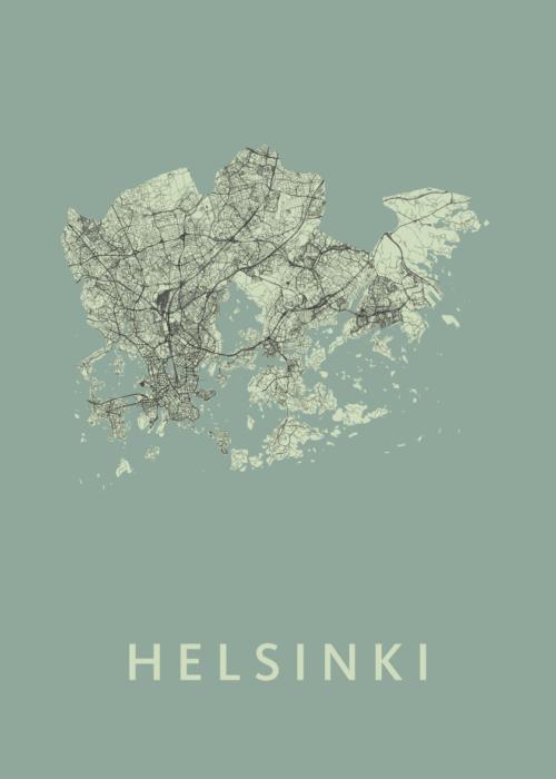Helsinki Olive Stadskaart Poster | Kunst in Kaart