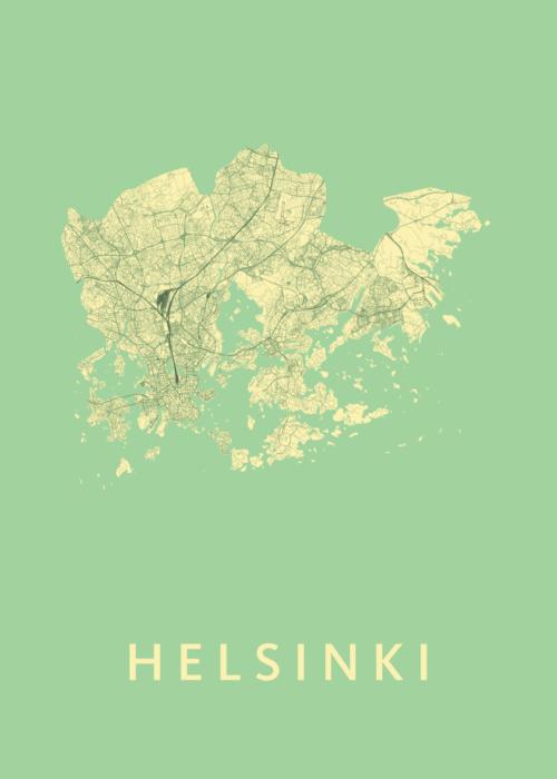Helsinki Spring Stadskaart Poster | Kunst in Kaart