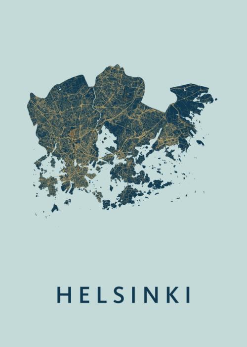 Helsinki Prussian Stadskaart Poster | Kunst in Kaart