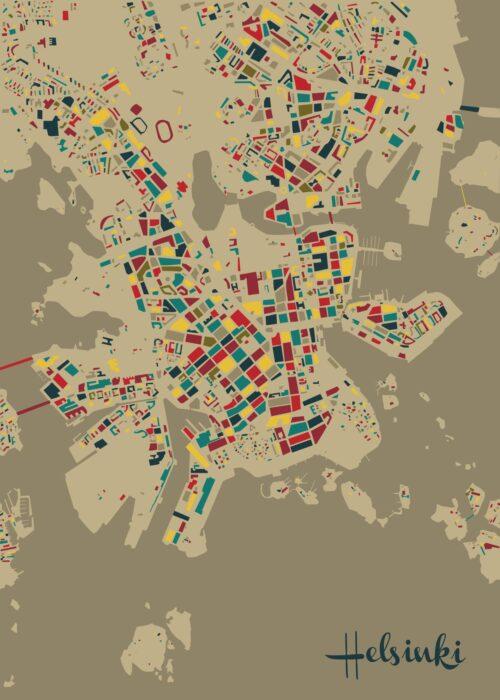 Helsinki Mosaic map Retro