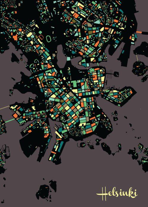 Helsinki Mosaic map Vintage