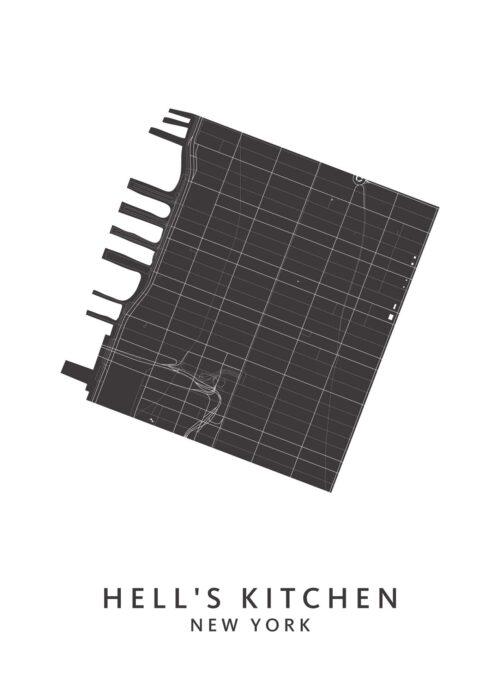 New York - Hell's Kitchen - Wijkkaart - White
