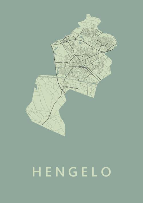 Hengelo Olive Stadskaart Poster | Kunst in Kaart