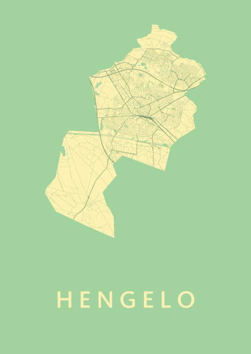 Hengelo Spring Stadskaart Poster | Kunst in Kaart