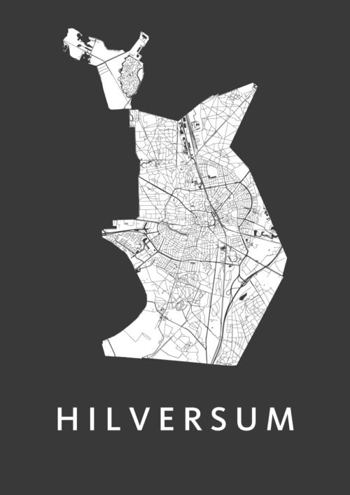 Hilversum Black Stadskaart Poster | Kunst in Kaart