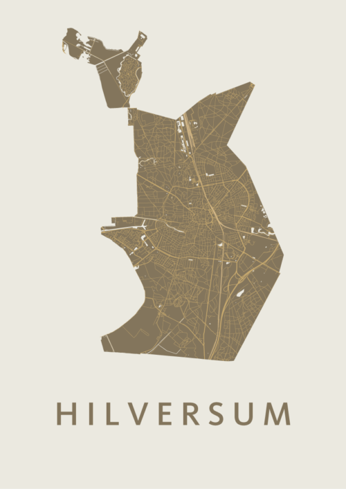 Hilversum Gold Stadskaart Poster   Kunst in Kaart