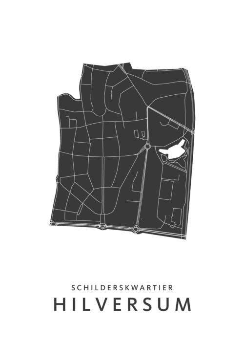 Hilversum - Schilderskwartier - Wijkkaart - wit