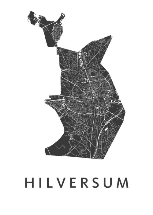 Hilversum White Stadskaart Poster | Kunst in Kaart