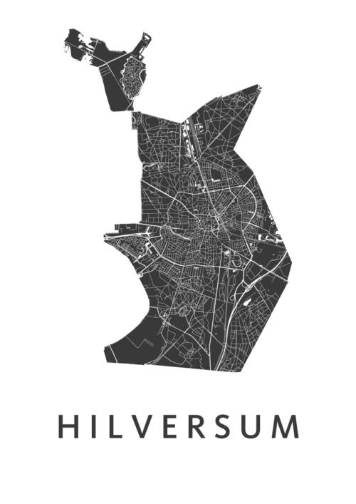 Hilversum White Stadskaart Poster   Kunst in Kaart
