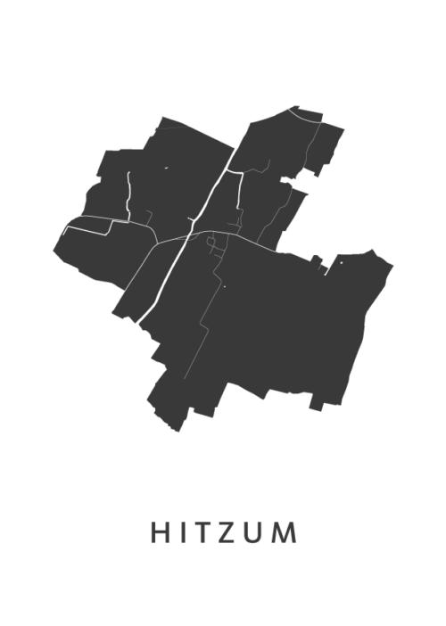 Hitzum Stadskaart - Wit   Kunst in Kaart
