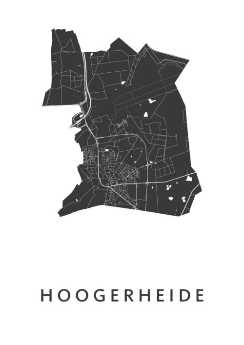 Hoogerheide White Stadskaart Poster   Kunst in Kaart