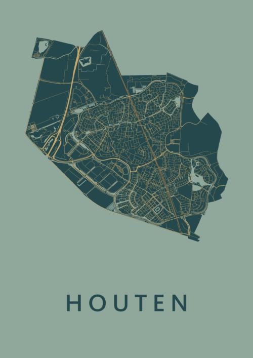 Houten Amazon Stadskaart Poster   Kunst in Kaart