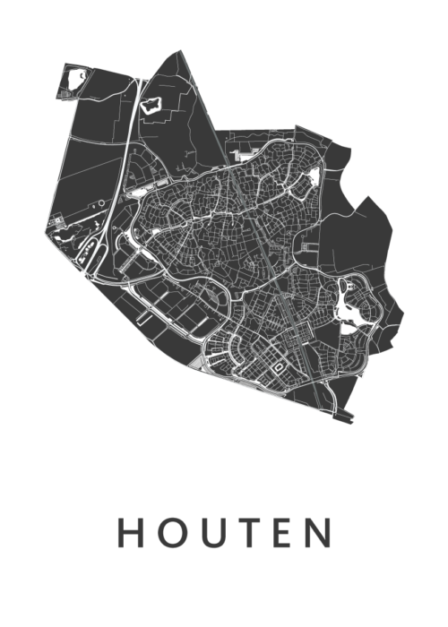 Houten White Stadskaart Poster | Kunst in Kaart