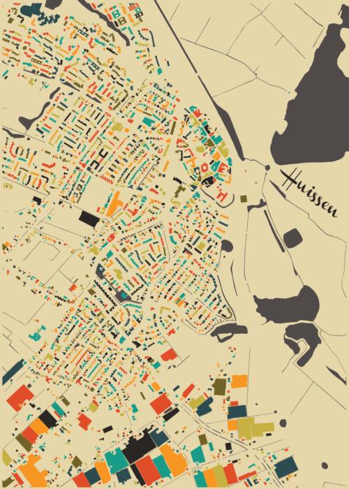 Huissen Autumn Mosaic Map stadskaart poster