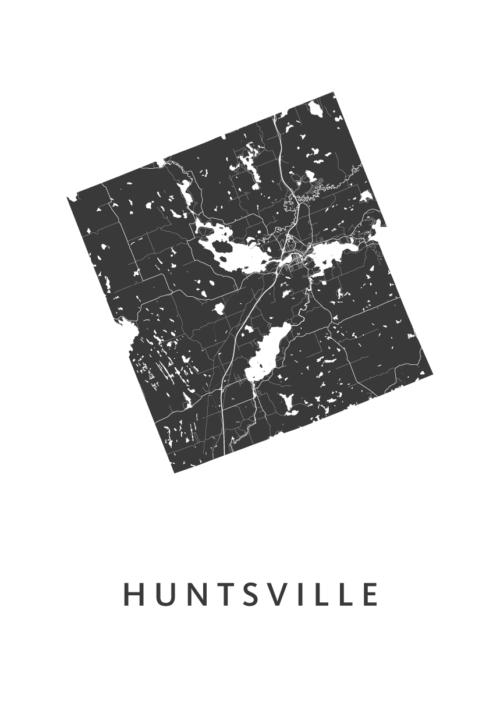 Huntsville White Stadskaart Poster | Kunst in Kaart