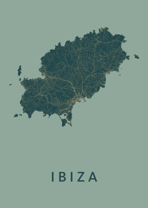Ibiza (island) Amazon Stadskaart Poster | Kunst in Kaart