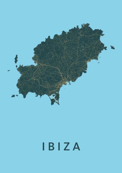 Ibiza island Azure Stadskaart Poster | Kunst in Kaart