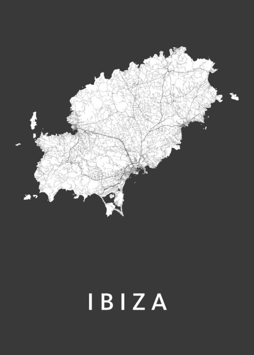 Ibiza island Black Stadskaart Poster | Kunst in Kaart