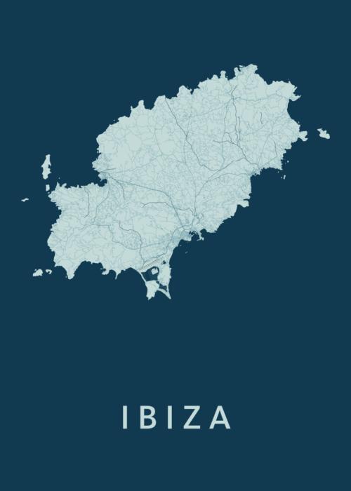 Ibiza island Feldgrau Stadskaart Poster | Kunst in Kaart