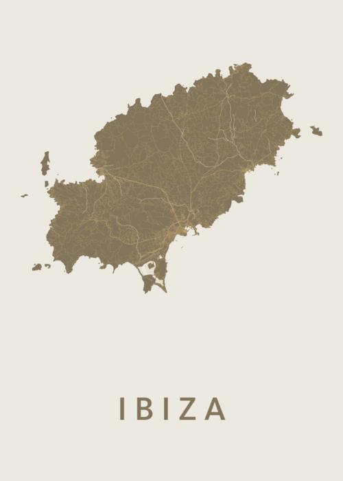 Ibiza island Gold Stadskaart Poster | Kunst in Kaart
