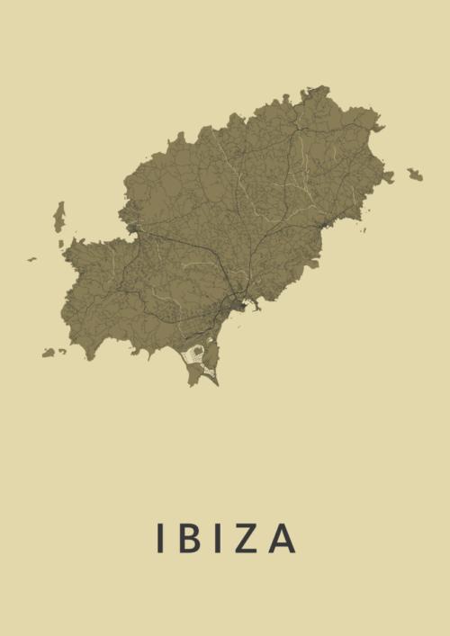 Ibiza island GoldenRod Stadskaart Poster | Kunst in Kaart