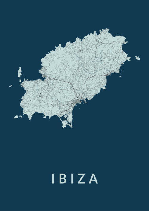 Ibiza island Navy Stadskaart Poster | Kunst in Kaart
