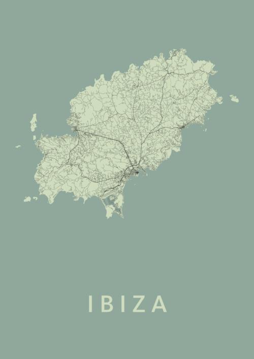 Ibiza island Olive Stadskaart Poster   Kunst in Kaart
