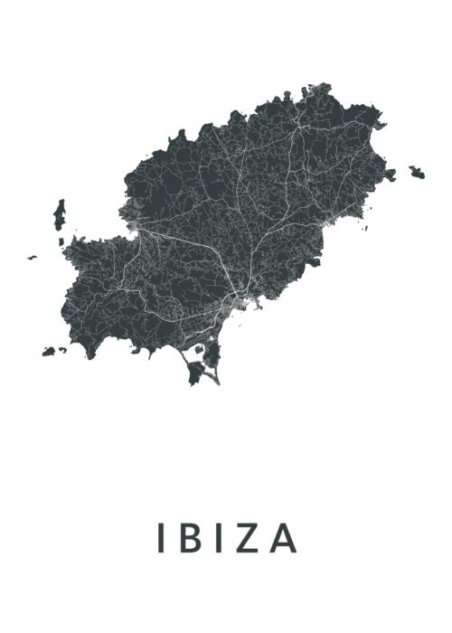 Ibiza Eiland Kaart Poster Wit| Kunst in Kaart