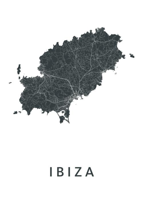 Ibiza Eiland Kaart Poster Wit  Kunst in Kaart