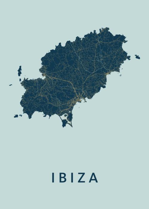 Ibiza island Prussian Stadskaart Poster | Kunst in Kaart