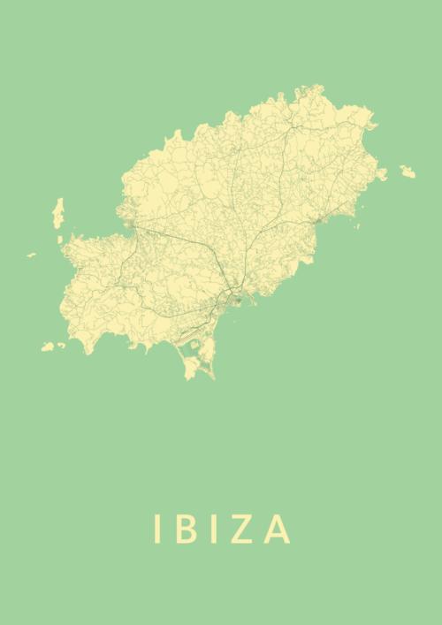 Ibiza island Spring Stadskaart Poster | Kunst in Kaart