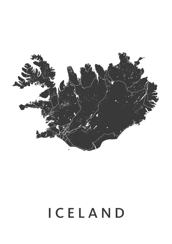 Iceland Country Map stadskaart poster