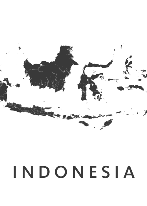 Indonesia White A2 stadskaart poster