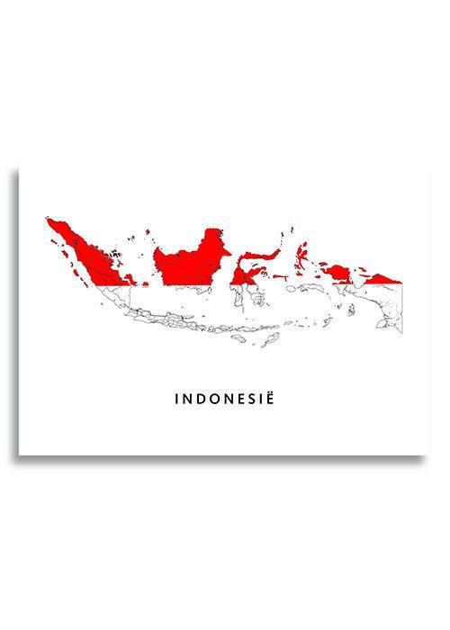 Indonesië Landkaart - Landvlag - Poster