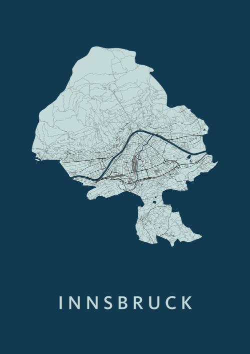 Innsbruck Navy Stadskaart Poster | Kunst in Kaart
