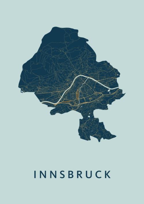 Innsbruck Prussian Stadskaart Poster | Kunst in Kaart