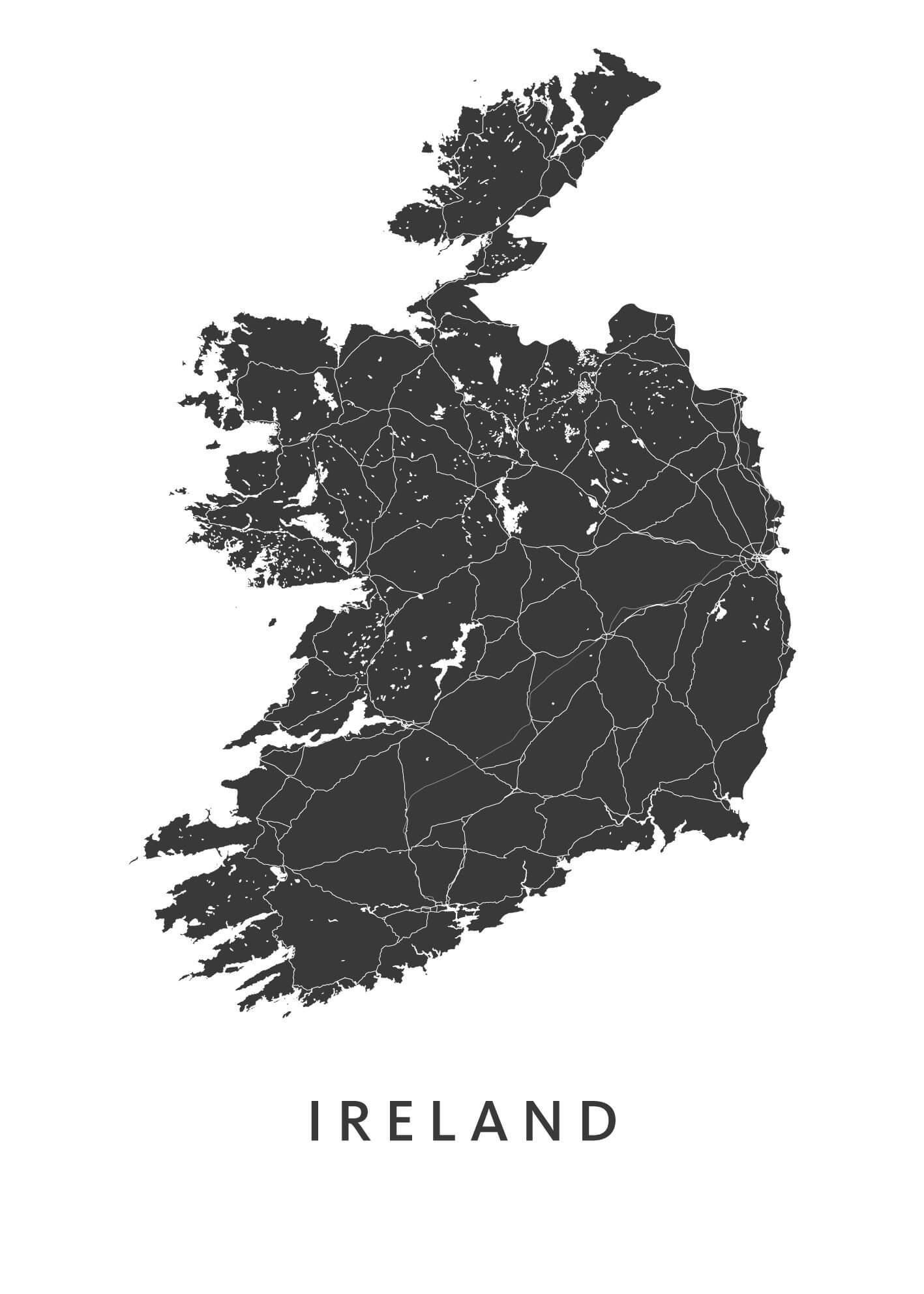 Ireland stadskaart poster